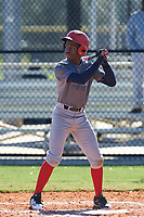 Kendrick Curry II (1) of Washington, DC during the Baseball Factory All-America Pre-Season Rookie Tournament, powered by Under Armour, on January 14, 2018 at Lake Myrtle Sports Complex in Auburndale, Florida.  (Michael Johnson/Four Seam Images)