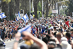 The ceremonial start of Stage 2 of the 101st edition of the Giro d'Italia 2018 running 167km from Haifa to Tel Aviv, Israel. 5th May 2018.<br /> Picture: LaPresse/Fabio Ferrari | Cyclefile<br /> <br /> <br /> All photos usage must carry mandatory copyright credit (&copy; Cyclefile | LaPresse/Fabio Ferrari)