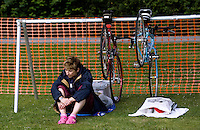 20 JUL 2008 - MANLEY, UK - A competitor prepares herself for the race ahead - Deva Divas Triathlon. (PHOTO (C) NIGEL FARROW)