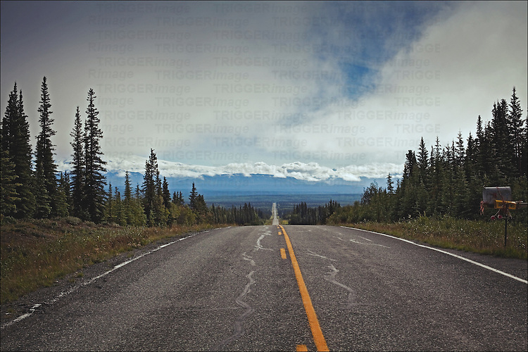 alaska, mountain highway with forests and mountains
