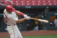 25th July 2020, St Louis, MO, USA;  St. Louis Cardinals first baseman Paul Goldschmidt (46) hits a solo home run in the first inning during a Major League Baseball game between the Pittsburgh Pirates and the St. Louis Cardinals