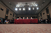 """Washington, D.C. - September 23, 2008 -- From left to right: United States Secretary of the Treasury Henry M. Paulson;  Ben S. Bernanke, Chairman, Board of Governors of the Federal Reserve System; United States Securities and Exchange Commission Chairman Christopher Cox; and United States Federal Housing Finance Agency Director James B. Lockhart, III, testify before the United States Senate Committee on Banking, Housing and Urban Affairs on """"Turmoil in US Credit Markets: Recent Actions Regarding Government Sponsored Entities, Investment Banks and Other Financial Institutions"""" in Washington, D.C. on Tuesday, September 23, 2008.  The hearing focused on the United States Government's proposed 700 billion U.S. dollar bail-out of the banking system caused by poor lending practices of U.S. banks..Credit: Ron Sachs / CNP"""