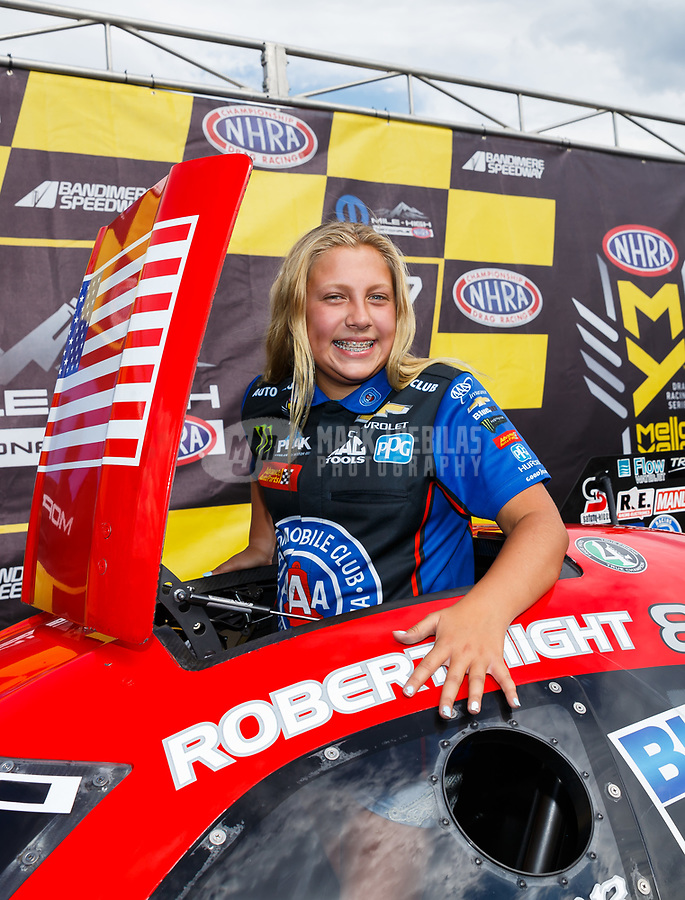 Jul 23, 2017; Morrison, CO, USA; Autumn Hight , daughter of NHRA funny car driver Robert Hight during the Mile High Nationals at Bandimere Speedway. Mandatory Credit: Mark J. Rebilas-USA TODAY Sports