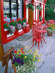 County Kerry, Ireland            Colorful storefront and outside cafe of the Knight's Town Coffee House in Knight's Town, Valencia Island, off the Iveragh Peninsula