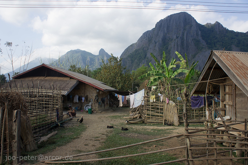 traditional farrm houses outside Vang Vieng, Laos, 2012