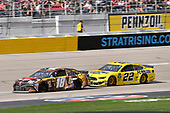 #18: Kyle Busch, Joe Gibbs Racing, Toyota Camry M&M's Chocolate Bar and #22: Joey Logano, Team Penske, Ford Mustang Pennzoil