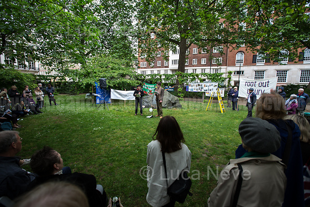 (From L to R) Sir Mark Rylance (British actor, theatre director, playwright, Academy Award and BAFTA Award winner) &amp; Patrick Walshe McBride (British actor).<br /> <br /> London, 15/05/2017. To mark and commemorate Conscientious Objectors' Day members of the public gathered at the Conscientious Objectors' stone Memorial in Tavistock Square. Every year a Ceremony (speeches, poetry, music and a minute of silence) takes place in London to remember the courage of the Conscientious Objectors, people &quot;who has claimed the right to refuse to perform military service&quot; (Source - Wikipedia.org). The event was organised by: Peace Pledge Union, Pax Christi, Conscience: Taxes for Peace not War, Movement for the Abolition of War and Veterans For Peace UK. From the organisers Facebook event page: &lt;&lt;Guest speakers: Sir Mark Rylance and Nick Jeffrey (Vietnam War draft resister). We gather each year at the Conscientious Objectors&rsquo; stone for the annual ceremony in honour of COs past and present [&hellip;] of all countries and all times [&hellip;]&gt;&gt;.<br /> <br /> For more information please click here: https://www.facebook.com/events/448803792133266/