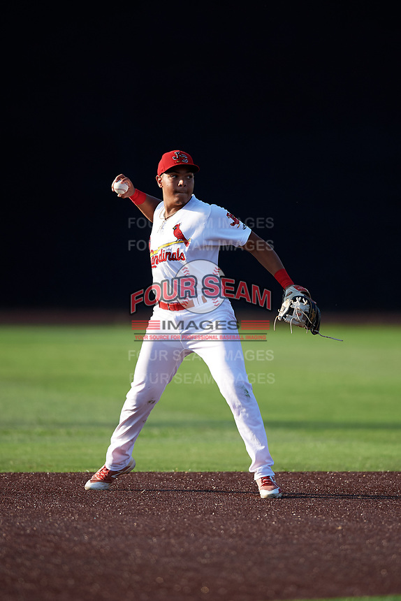 Johnson City Cardinals second baseman Donivan Williams (3) throws to first base during a game against the Danville Braves on July 29, 2018 at TVA Credit Union Ballpark in Johnson City, Tennessee.  Johnson City defeated Danville 8-1.  (Mike Janes/Four Seam Images)