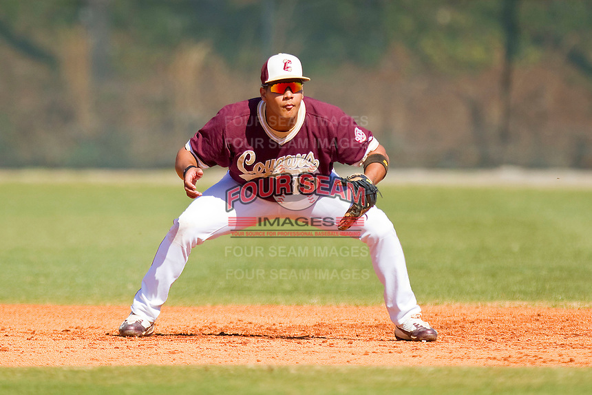 First baseman Jose Rodriguez #19 of the College of Charleston Cougars on defense against the Davidson Wildcats at Wilson Field on March 12, 2011 in Davidson, North Carolina.  The Wildcats defeated the Cougars 8-3.  Photo by Brian Westerholt / Four Seam Images