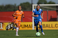 Kelly Smith (10) of the Boston Breakers is trailed by Kacey White (20) of Sky Blue FC. Sky Blue FC defeated the Boston Breakers 1-0 during a Women's Professional Soccer match at Yurcak Field in Piscataway, NJ, on July 4, 2009.