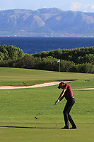Sebastian Heisele (GER) on the 15th fairway during Round 3 of the Challenge Tour Grand Final 2019 at Club de Golf Alcanada, Port d'Alcúdia, Mallorca, Spain on Saturday 9th November 2019.<br /> Picture:  Thos Caffrey / Golffile<br /> <br /> All photo usage must carry mandatory copyright credit (© Golffile | Thos Caffrey)