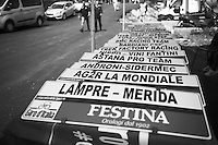 Team name plates ready for stage 1 of the 2015 Giro d'Italia<br /> <br /> startzone of stage 1: San Lorenzo Al Mare - San remo (TTT/17.6km)