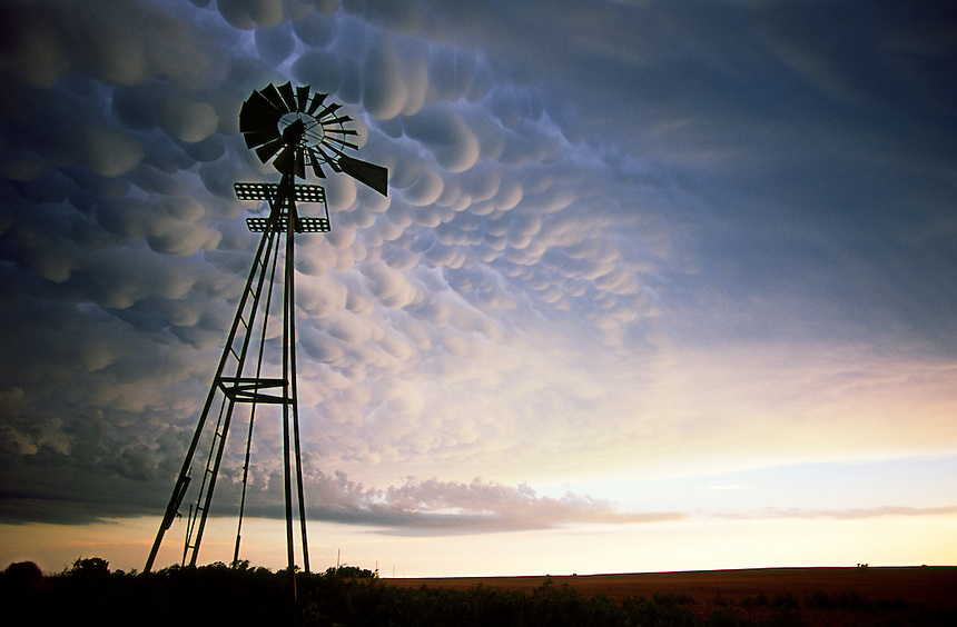 A dramatic display of mammatus clouds herald the approach of severe thunderstorms near Woodward Oklahoma in June.