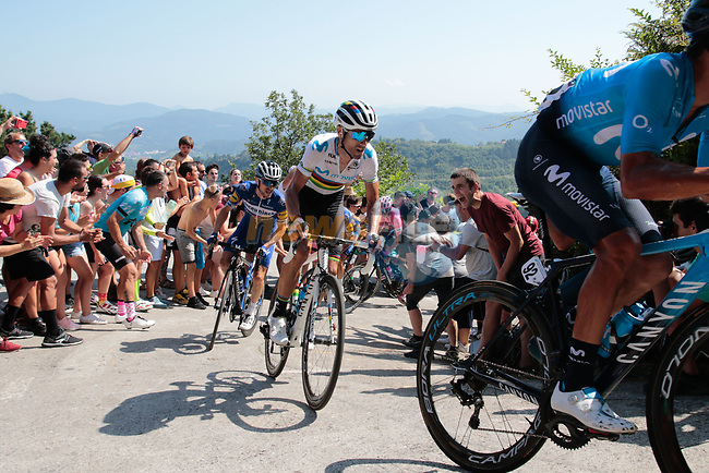 World Champion Alejandro Valverde (ESP) Movistar Team summits the fearsome Cat2 Murgil climb on the 1st ascent during the 2019 Clasica Ciclista San Sebastian, running 227.3km starting and finishing in Donostia-San Sebastián, Spain. 3rd August 2019.<br /> Picture: Colin Flockton | Cyclefile<br /> All photos usage must carry mandatory copyright credit (© Cyclefile | Colin Flockton)