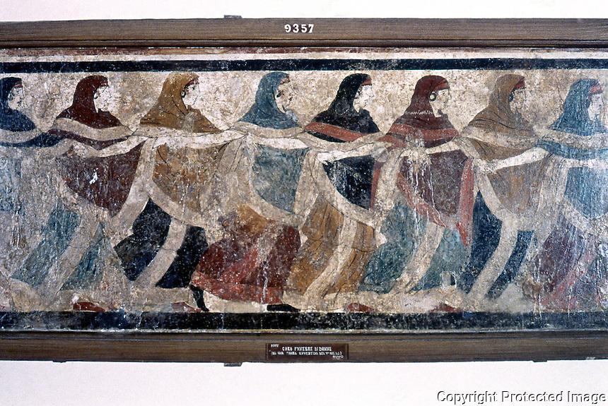 Greek Art:  Funeral Dance, tome fresco.  National Museum. Naples.