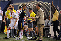 David Beckham (23) of the Los Angeles Galaxy shakes hands with head coach Bruce Arena after being substituted in the second half. The Los Angeles Galaxy defeated the New York Red Bulls 3-1 during a Major League Soccer match at Giants Stadium in East Rutherford, NJ, on July 16, 2009.