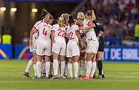 LYON,  - JULY 2: England huddles during a game between England and USWNT at Stade de Lyon on July 2, 2019 in Lyon, France.
