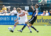 April 11, 2009:  Brian McBride of Fire and Ramiro Corrales of Earthquakes in action during the game at Buck Shaw Stadium in Santa Clara, California. San Jose Earthquakes and Chicago Fire tied, 3-3