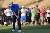 Thomas Pieters (BEL) on the 18th during the 3rd round of the DP World Tour Championship, Jumeirah Golf Estates, Dubai, United Arab Emirates. 23/11/2019<br /> Picture: Golffile | Fran Caffrey<br /> <br /> <br /> All photo usage must carry mandatory copyright credit (© Golffile | Fran Caffrey)