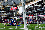 Goalkeeper Kepa Arrizabalaga Revuelta of Athletic Club de Bilbao (L) reaches for the ball after an attempt at goal by Diego Costa of Atletico de Madrid (R) during the La Liga 2017-18 match between Atletico de Madrid and Athletic de Bilbao at Wanda Metropolitano  on February 18 2018 in Madrid, Spain. Photo by Diego Souto / Power Sport Images