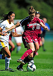 19 September 2010: Colgate University Raider defender Calista Victor, a Senior from Seattle, WA, in action against the University of Vermont Catamounts at Centennial Field in Burlington, Vermont. The Raiders scored a pair of second half goals two minutes apart to notch a 2-0 victory over the Lady Cats in non-conference women's soccer play. Mandatory Credit: Ed Wolfstein Photo