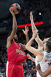 Real Madrid Fabien Causeur and Olympiacos Piraeus Hollis Thompson during Turkish Airlines Euroleague match between Real Madrid and Olympiacos Piraeus at Wizink Center in Madrid , Spain. February 09, 2018. (ALTERPHOTOS/Borja B.Hojas)
