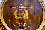 The face of an old barrel has been dressed up to commemorate the winery's heritage, in the tasting room at Barboursville Vineyards.