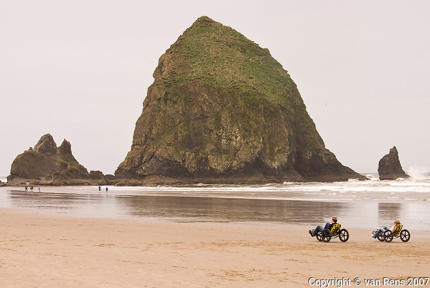 Tricycling recreation at Haystack Rock in Cannon Beach, OR