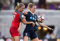 Orlando, FL - Saturday October 14, 2017: Lindsey Horan and Sam Mewis during the NWSL Championship match between the North Carolina Courage and the Portland Thorns FC at Orlando City Stadium.   The Portland Thorns won the championship, 1-0.
