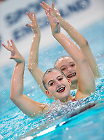 Picture by Allan McKenzie/SWpix.com - 25/11/2017 - Swimming - Swim England Synchronised Swimming National Age Group Championships 2017 - GL1 Leisure Centre, Gloucester, England - Celina Dembinska-Kenner & Danielle Cooper.