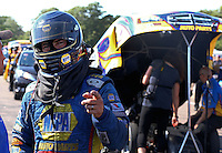 Aug. 17, 2013; Brainerd, MN, USA: NHRA funny car driver Ron Capps during qualifying for the Lucas Oil Nationals at Brainerd International Raceway. Mandatory Credit: Mark J. Rebilas-