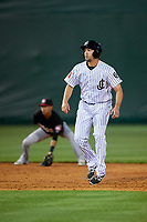Jackson Generals left fielder Kelly Dugan (25) leads off second base during a game against the Chattanooga Lookouts on April 27, 2017 at The Ballpark at Jackson in Jackson, Tennessee.  Chattanooga defeated Jackson 5-4.  (Mike Janes/Four Seam Images)