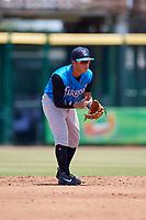 Tampa Tarpons second baseman David Metzgar (22) during a Florida State League game against the Bradenton Marauders on May 26, 2019 at LECOM Park in Bradenton, Florida.  Bradenton defeated Tampa 3-1.  (Mike Janes/Four Seam Images)