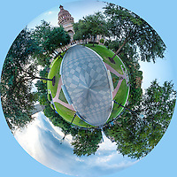 This is a tiny planet capture where we did a 360 panorama of the Texas Capitol and then put it together to create this circular photo.  It is a unique perspective of the capitol,