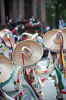 A Mexican-American folk dancing group  marches on Madison Avenue in New York on Sunday, September 18, 2011 in the annual Mexican Independence Day Parade. The parades that take place from the spring into the fall in New York celebrate the cultural diversity of the city. (© Richard B. Levine)