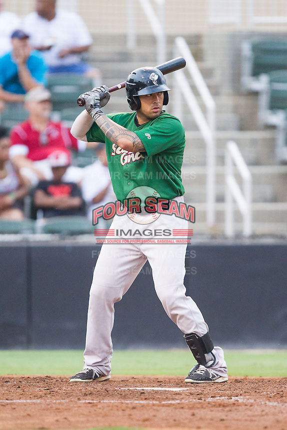 Stefan Sabol (27) of the Savannah Sand Gnats at bat against the Kannapolis Intimidators at CMC-Northeast Stadium on June 9, 2014 in Kannapolis, North Carolina.  The Intimidators defeated the Sand Gnats 4-2.  (Brian Westerholt/Four Seam Images)