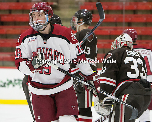 Jimmy Vesey (Harvard - 19) - The Harvard University Crimson defeated the Brown University Bears 4-3 to sweep their first round match up in the ECAC playoffs on Saturday, March 7, 2015, at Bright-Landry Hockey Center in Cambridge, Massachusetts.