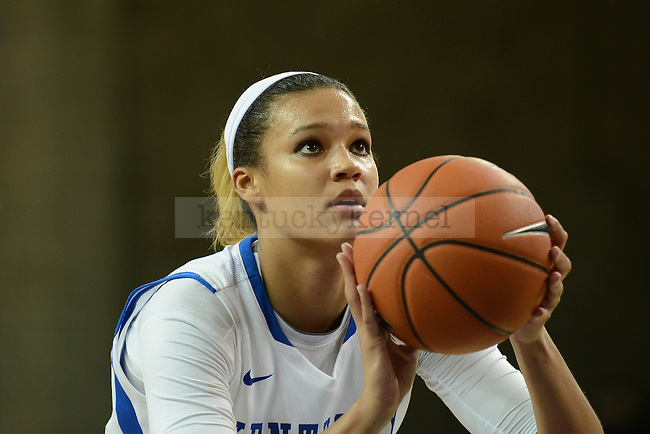 Kentucky Wildcats forward/center Azia Bishop (50) shoots a free throw during the second half of the UK Women's Basketball game versus Lipscomb at Memorial Coliseum in Lexington, Ky., on Thursday, November 21, 2013. Photo by Caleb Gregg | Staff