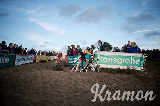 with 2 laps to go Belgian Champion Sven Nys (BEL/Crelan-AAdrinks) leads over Kevin Pauwels (BEL/Sunweb-Napoleon Games)<br /> <br /> GP Zonhoven 2014