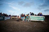 with 2 laps to go Belgian Champion Sven Nys (BEL/Crelan-AAdrinks) leads over Kevin Pauwels (BEL/Sunweb-Napoleon Games)<br /> <br /> GP Zonhoven 2014