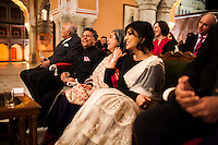 Nik Senapati (2nd from left), Managing Director of Argyle Diamonds, shares a light moment with OzFest ambassador Pallavi Sharda (4th from right) and other VIPs at the front row of the violin recital by Australian violinist Niki Vasilakis at the OzFest Gala Dinner in the Jaipur City Palace, in Rajasthan, India on 10 January 2013. Photo by Suzanne Lee
