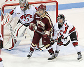 Chloe Desjardins (NU - 29), Alex Carpenter (BC - 5), Kelly Wallace (NU - 5) - The Northeastern University Huskies defeated Boston College Eagles 4-3 to repeat as Beanpot champions on Tuesday, February 12, 2013, at Matthews Arena in Boston, Massachusetts.