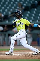 Center fielder Gerson Molina (12) of the Columbia Fireflies bats in a game against the Hickory Crawdads on Wednesday, August 28, 2019, at Segra Park in Columbia, South Carolina. Hickory won, 7-0. (Tom Priddy/Four Seam Images)