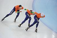 SPEEDSKATING: SOCHI: Adler Arena, 20-03-2013, Training, Stefan Groothuis (NED), Laurine van Riessen (NED), Diane Valkenburg (NED), © Martin de Jong