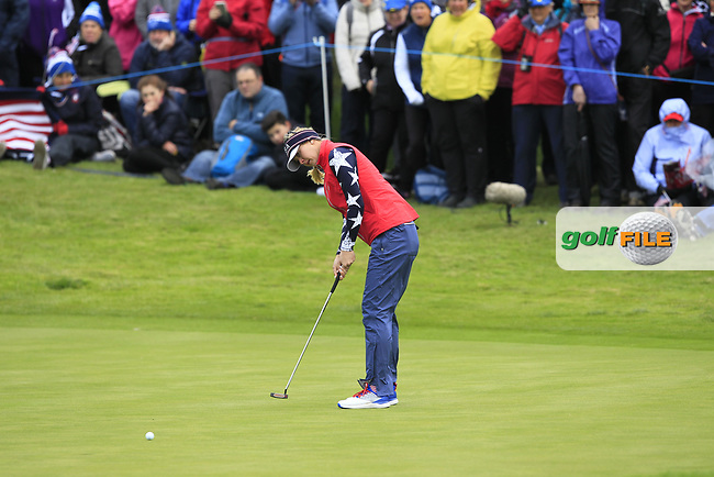 Jessica Korda of Team USA on the 10th green during Day 2 Foursomes at the Solheim Cup 2019, Gleneagles Golf CLub, Auchterarder, Perthshire, Scotland. 14/09/2019.<br /> Picture Thos Caffrey / Golffile.ie<br /> <br /> All photo usage must carry mandatory copyright credit (© Golffile | Thos Caffrey)