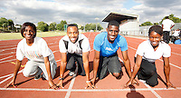 Haringey athletes pose for a picture. From L to R : Rachel Telfer, Luke Fagan, David Telfer and Torema Thompson..New River Stadium, July 12, 2010.