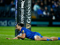 1st November 2019; RDS Arena, Dublin, Leinster, Ireland; Guinness Pro 14 Rugby, Leinster versus Dragons; James Lowe of Leinster scoring a try between the posts - Editorial Use