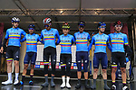Team Colombia at sign on before the Men Elite Road Race of the UCI World Championships 2019 running 280km from Leeds to Harrogate, England. 29th September 2019.<br /> Picture: Eoin Clarke | Cyclefile<br /> <br /> All photos usage must carry mandatory copyright credit (© Cyclefile | Eoin Clarke)