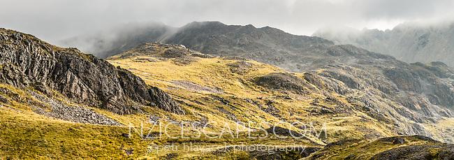Rugged alpine landscape near Lake Angelus, Nelson Lake National Park, South Island, New Zealand, NZ