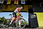 Tiesj Benoot (BEL) Lotto-Soudal at sign on before Stage 10 of the 2019 Tour de France running 217.5km from Saint-Flour to Albi, France. 15th July 2019.<br /> Picture: ASO/Pauline Ballet | Cyclefile<br /> All photos usage must carry mandatory copyright credit (© Cyclefile | ASO/Pauline Ballet)
